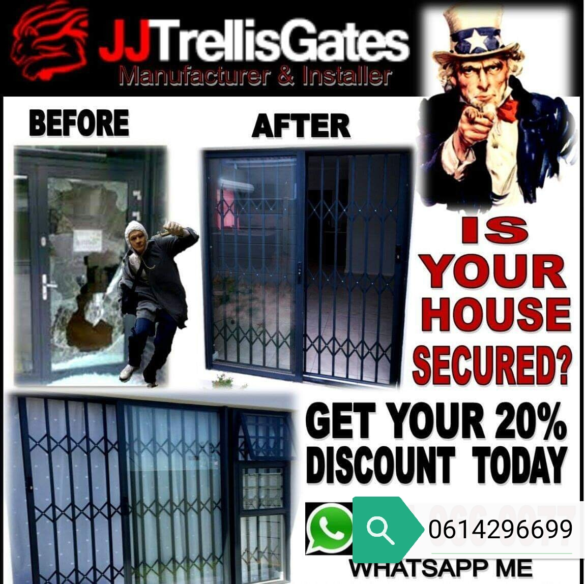 JJ trellis aluminium gates and buglar bars