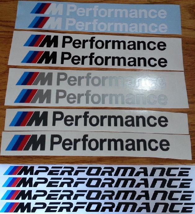 BMW Aluminium M Performance badges decals stickers vinyl cut graphics