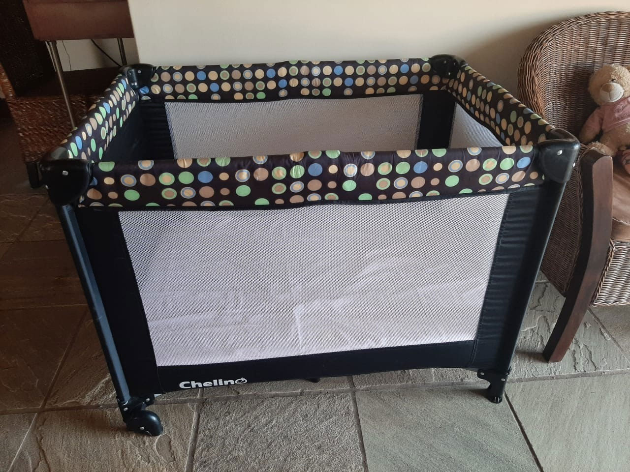 Chelino Camp Cot with mattress and protector
