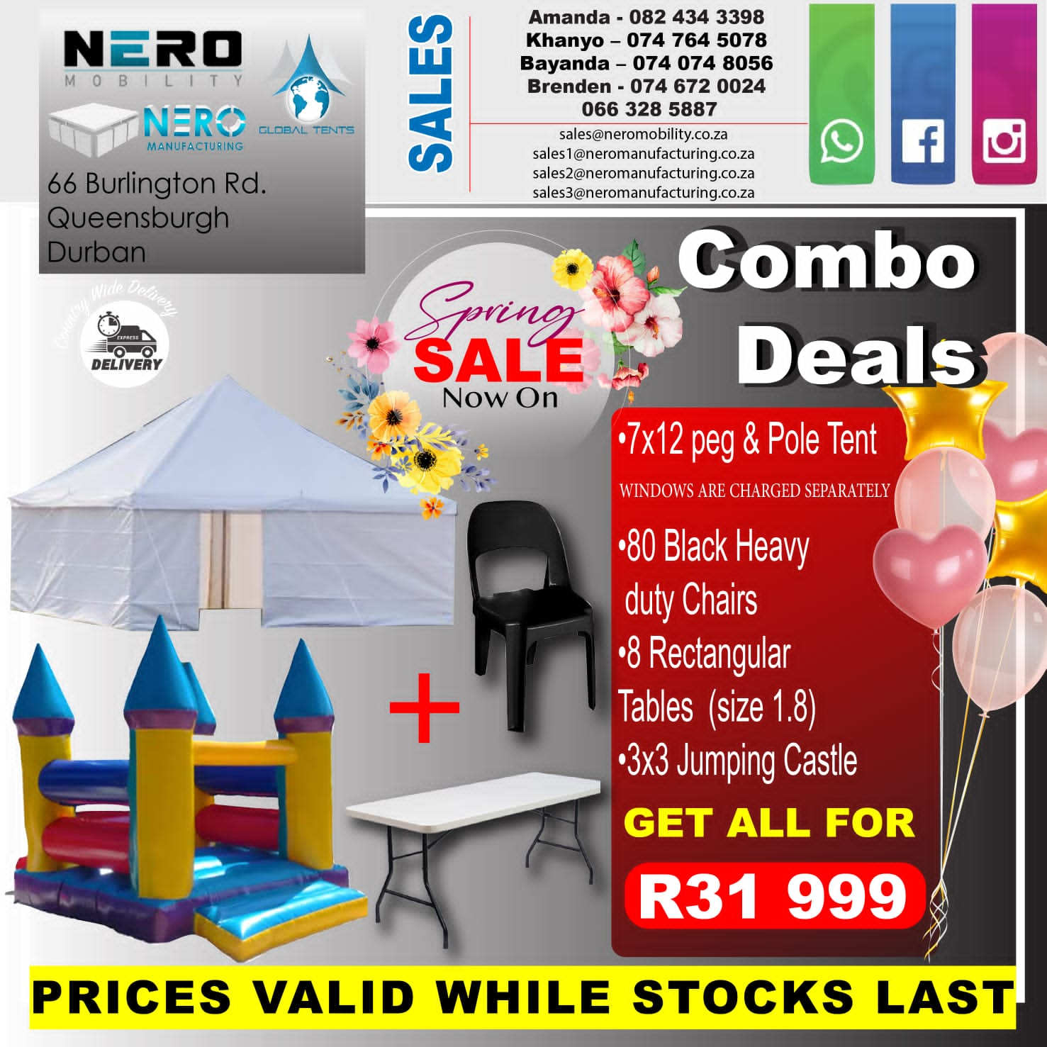 7x12 peg & pole tent spring combo deal