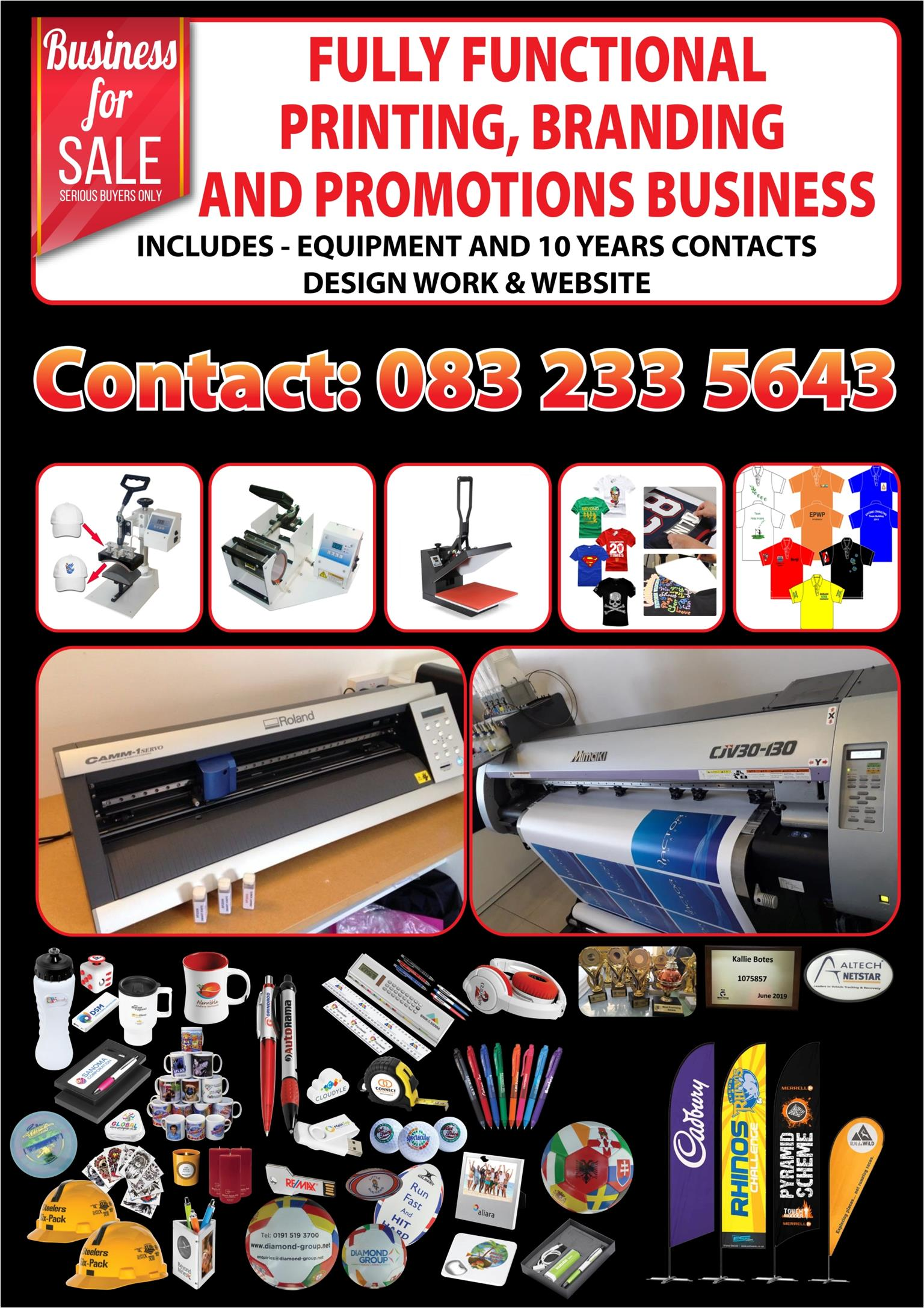 PRINTING, BRANDING AND PROMOTIONAL BUSINESS FOR SALE
