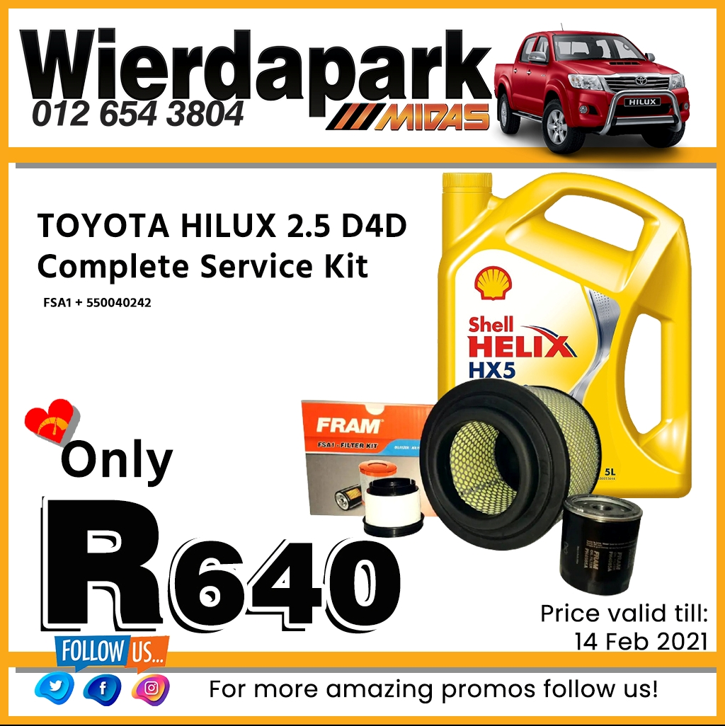 Toyota Hilux 2.5 D4D Complete Service Kit ONLY R640