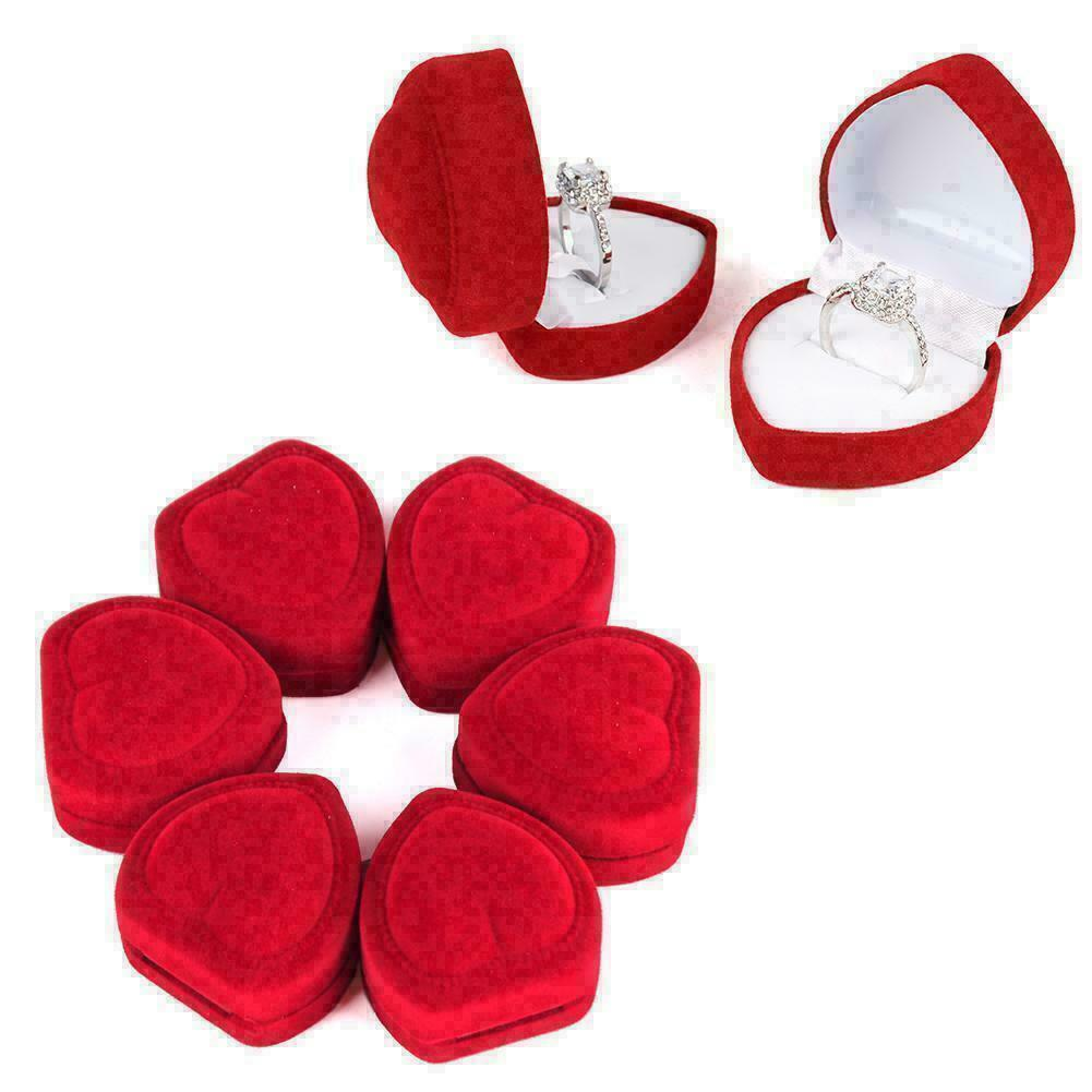 Heart-shaped Velvet Ring Earring Jewelry Display Box 5 Piece