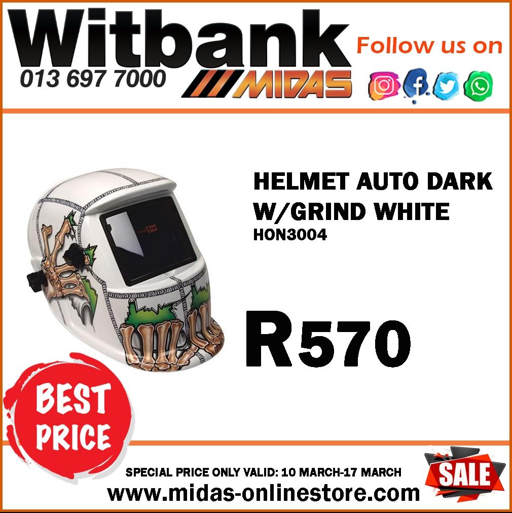 Helmet Auto Dark W/ Grind White