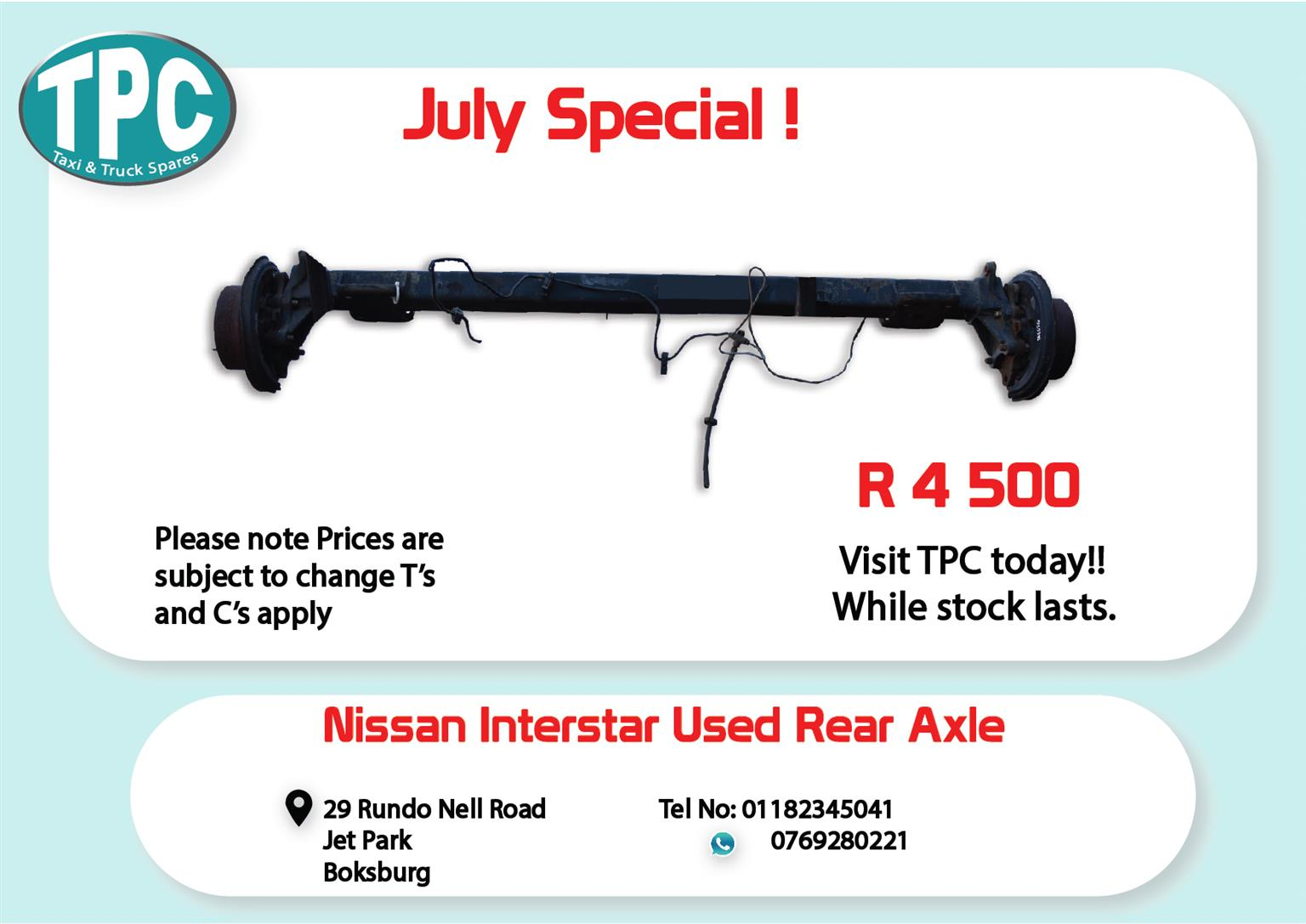 Nissan Interstar Rear Axle for Sale at TPC