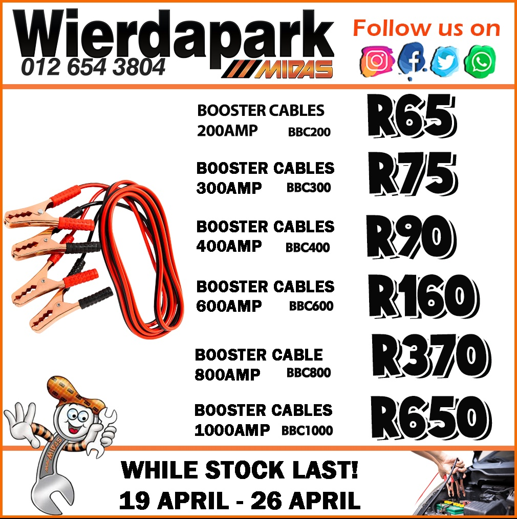 Booster Cables starting from  at Wierdapark Midas!
