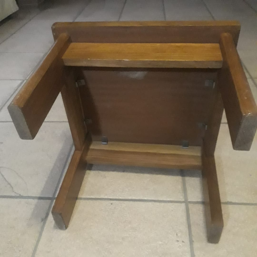 Solid mahogany side table. 400mm high 500mm × 500mm square.  Very good condition.