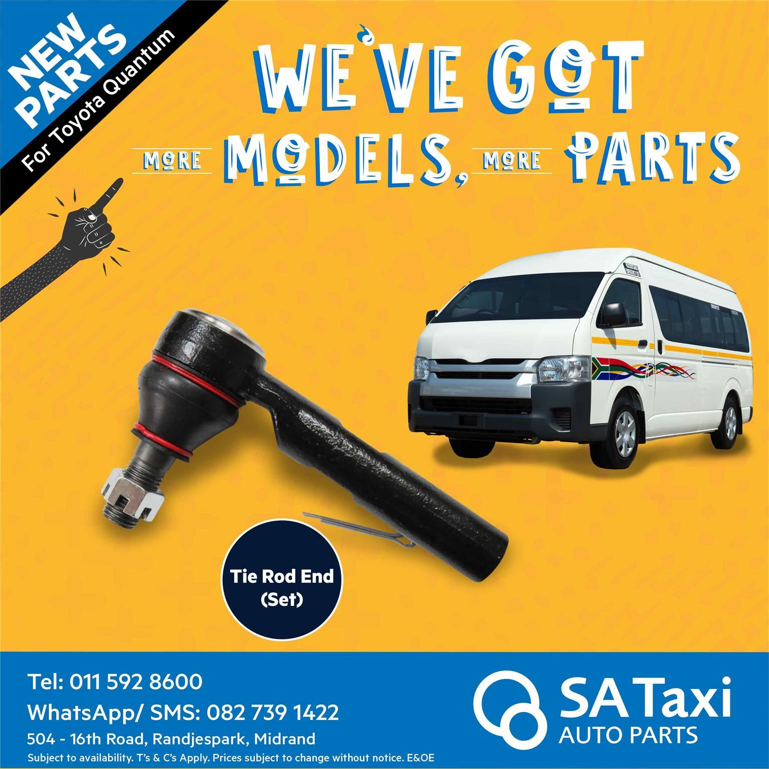 New Tie Rod End Set suitable for Toyota Quantum - SA Taxi Auto Parts quality spares