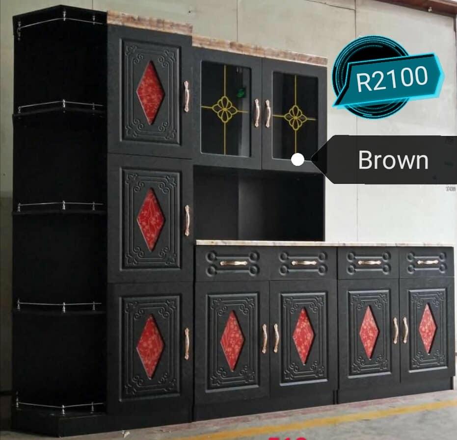 Red and dark brown kitchen units