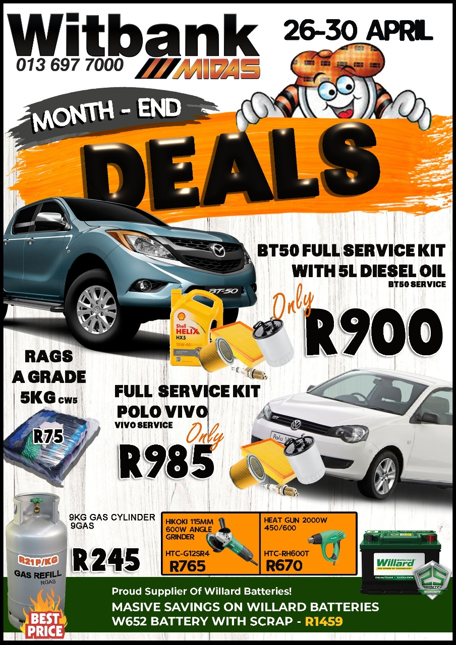 Month-End Deals now on at Midas Witbank!