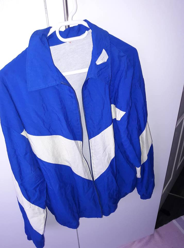 Blue and white jacket for sale