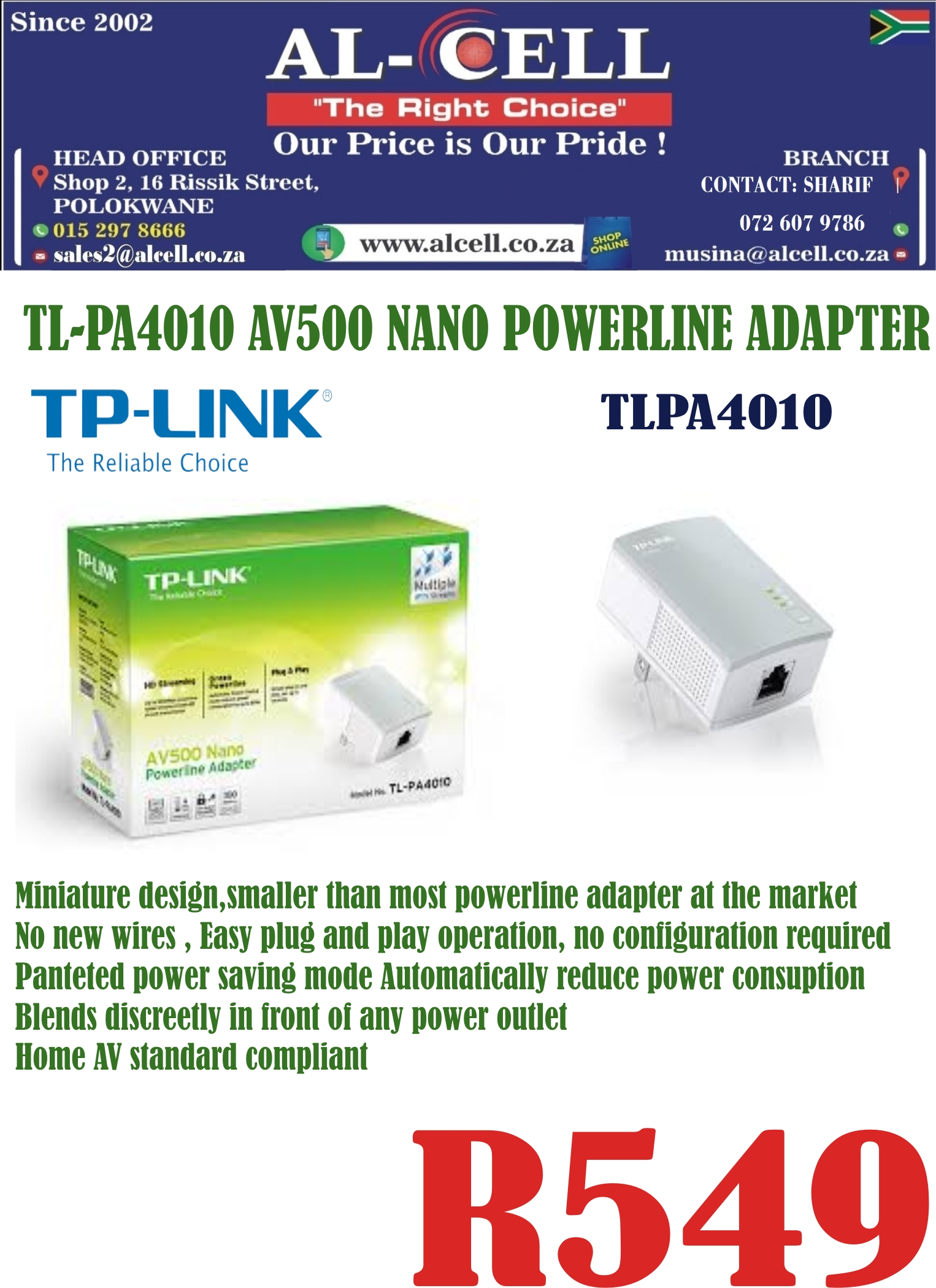 TP-LINK AV500 Nano Powerline Adapter TL-PA4010
