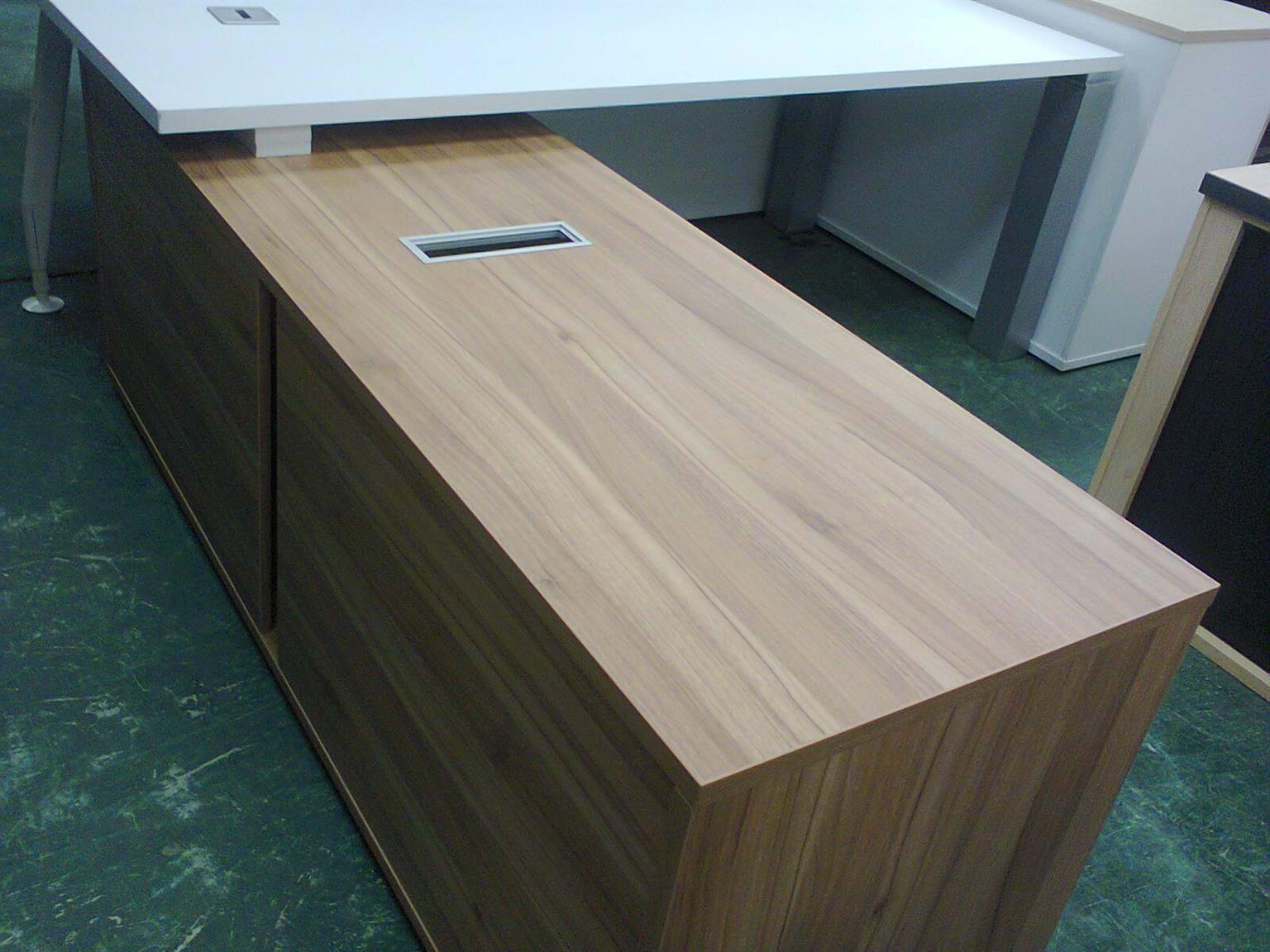 WHITE L SHAPED DESKS with separate credenza and drawers