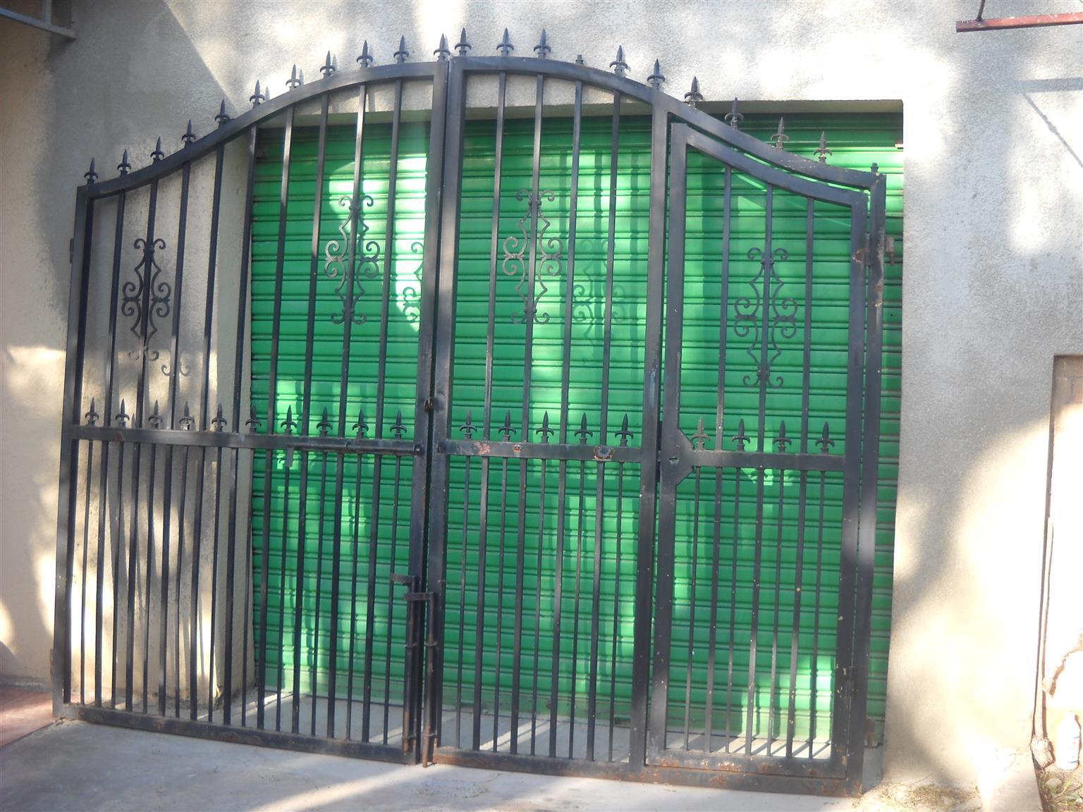Driveway gates wrought iron (swing type) and single pedestrian gate