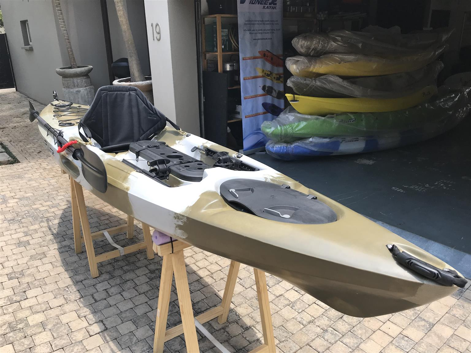 Pioneer Kayak Kingfisher, including seat, paddle, leash and rudder system, BRAND NEW!