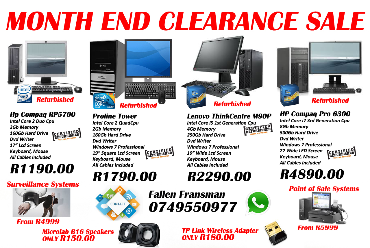 Month End Computer Clearance SALE