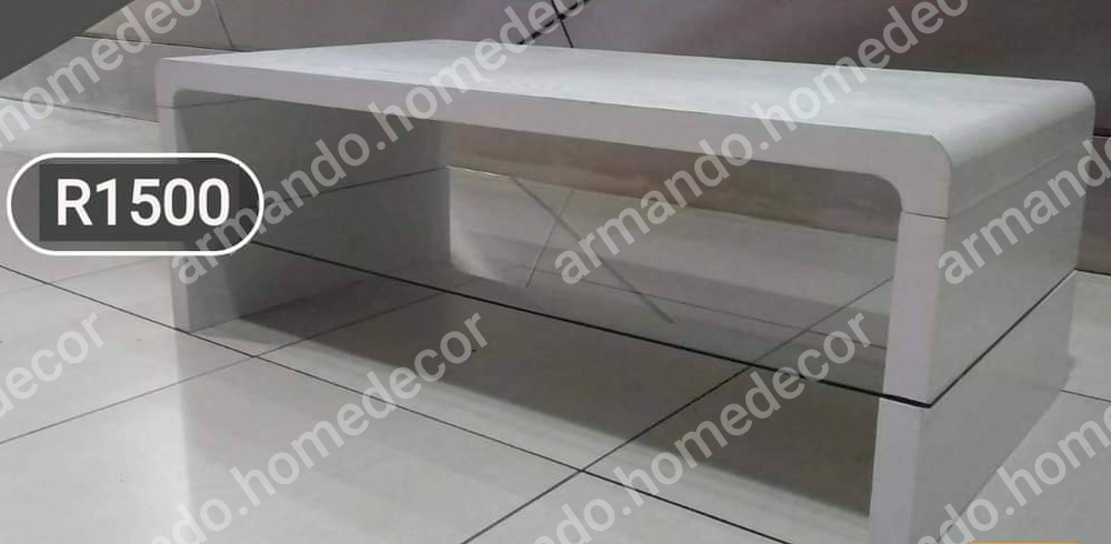 New white wooden coffee table with glass shelf