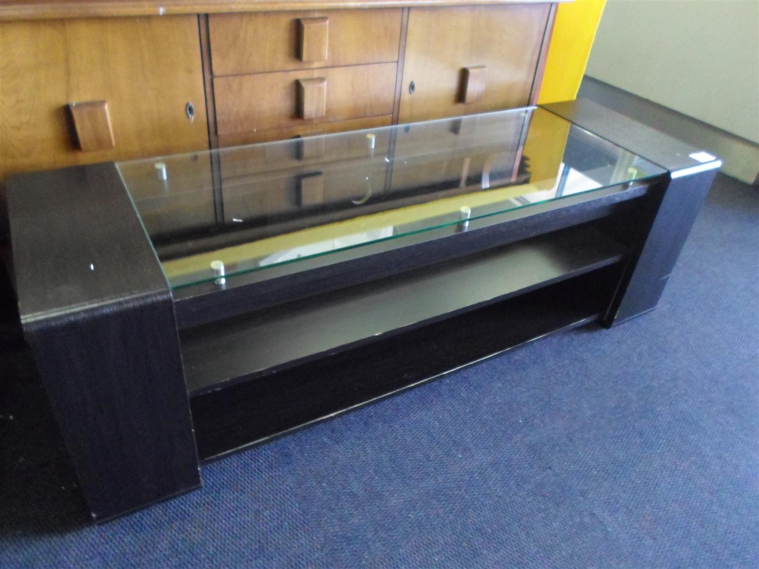 Wooden Plasma Stand with Glass Top