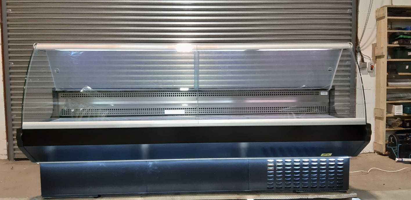 DELI COUNTER MEAT DISPLAY FRIDGE BLACK SLIM CURVED GLASS LED LIGHTS 2.5M