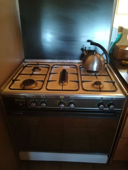 gasstoof met grill en glas deksel 80cm breed