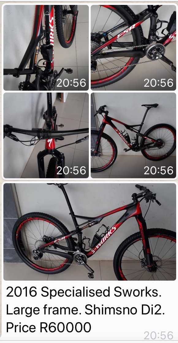For sale 2016 SPECIALISED SWORKS LARGE frame SHIMSNO Di2 excellent condition PRICE R60000