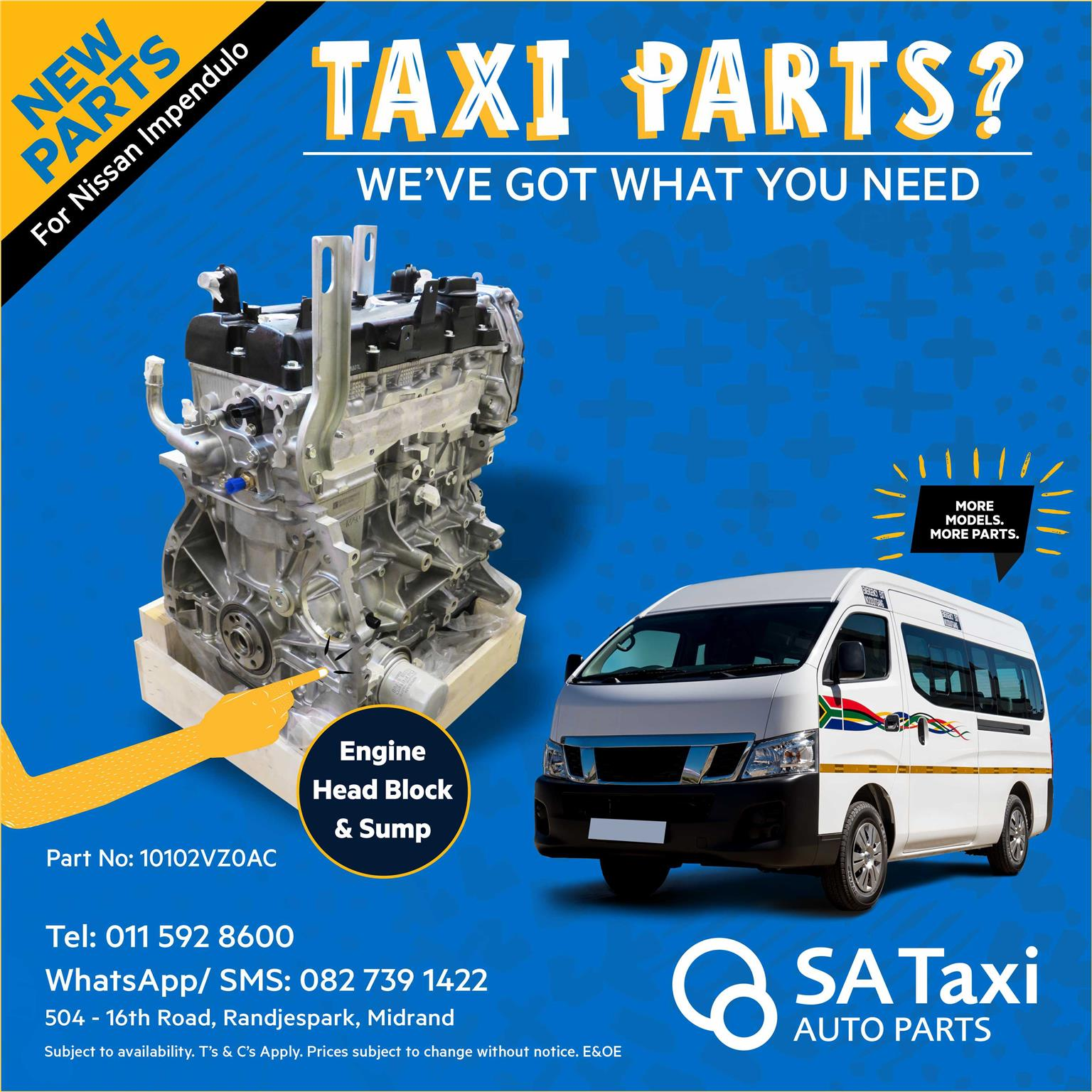 NEW Engine Head Block & Sump for Nissan NV350 Impendulo - SA Taxi Auto Parts quality spares