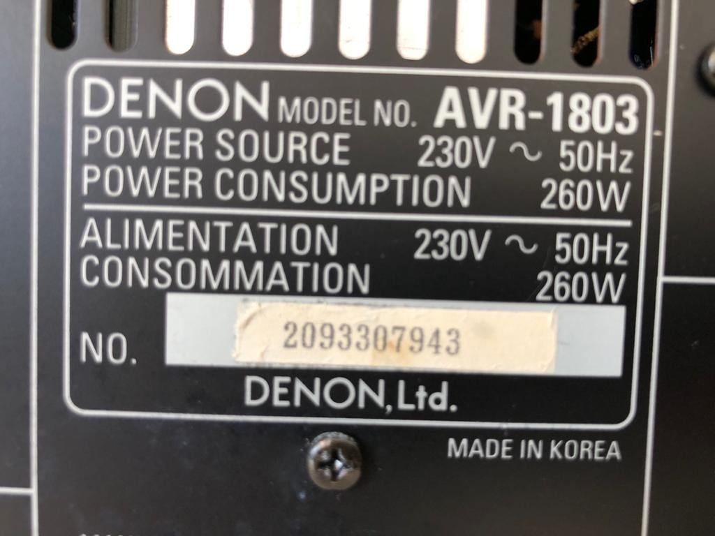 DENON AVR-1803,  A/V receiver with Dolby Digital EX, DTS-ES, and Pro Logic II, 6.1ch