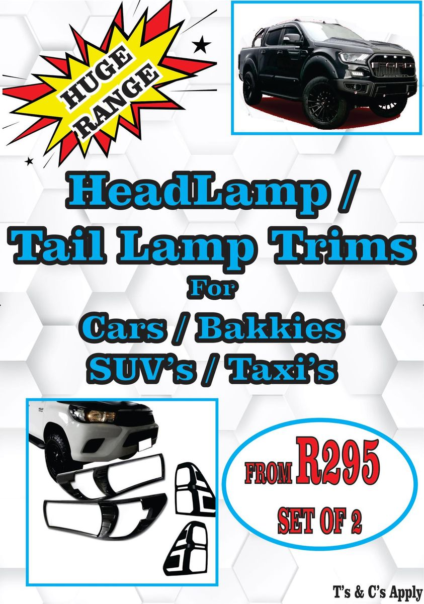 Headlamp Taillamp Trims for Cars Bakkies SUVs