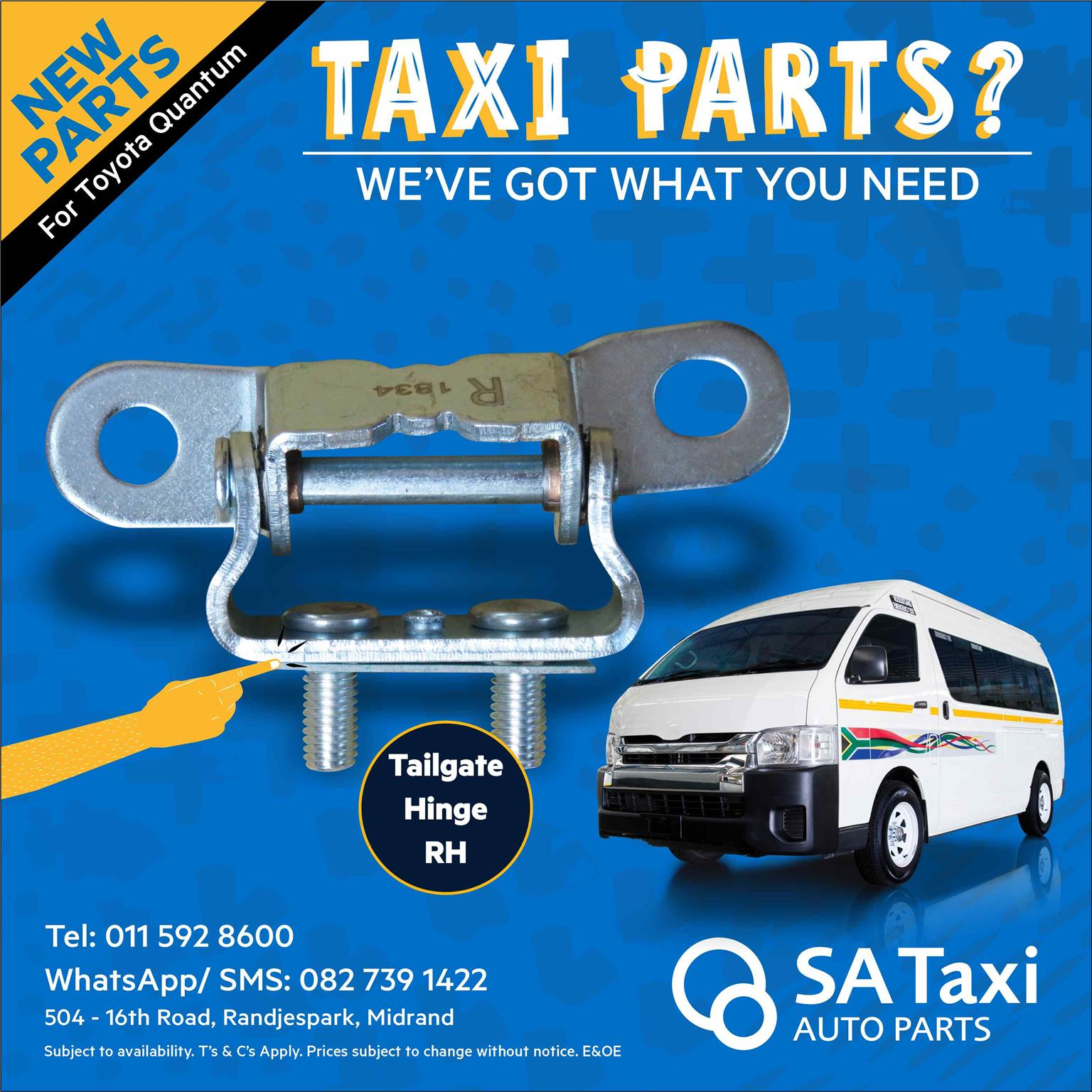 NEW Tailgate Hinge suitable for Toyota Quantum - SA Taxi Auto Parts quality spares
