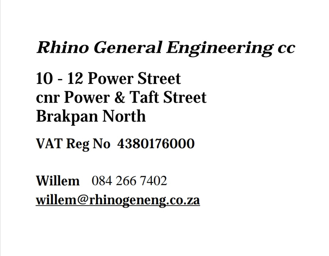 Rhino General Engineering cc for sale
