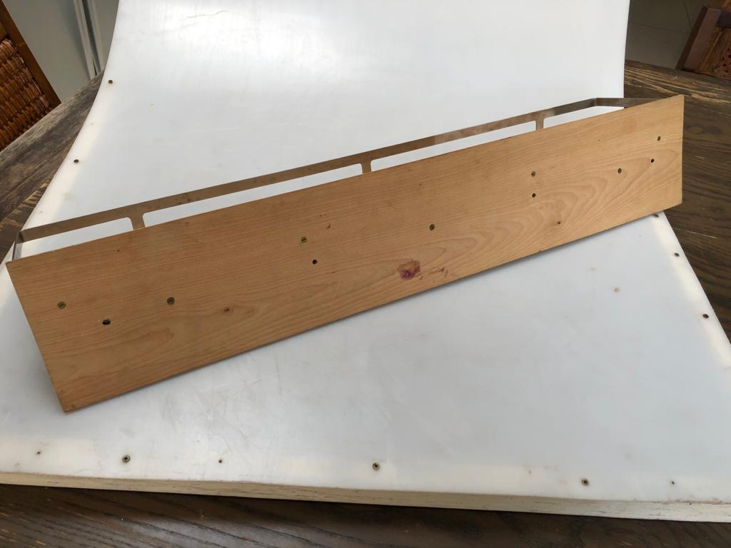 Slimline all purpose wall shelf in Maple wood and steel