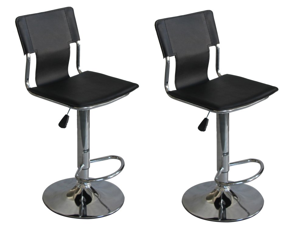 Hazlo Modern Adjustable Swivel Faux Leather Kitchen Bar Stool Chair (Set of 2)