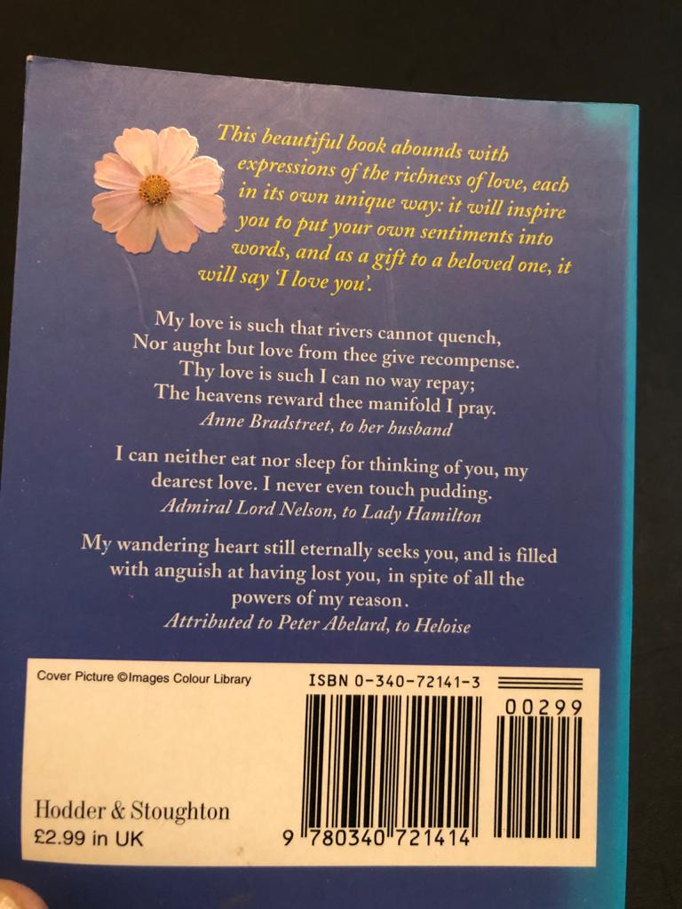 Book: One Hundred Ways to Say I Love You by Celia Haddon - say it with words!