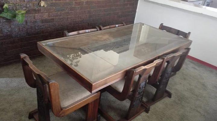 Six Seater Rhodesian Teak Wood Dining Seat Junk Mail