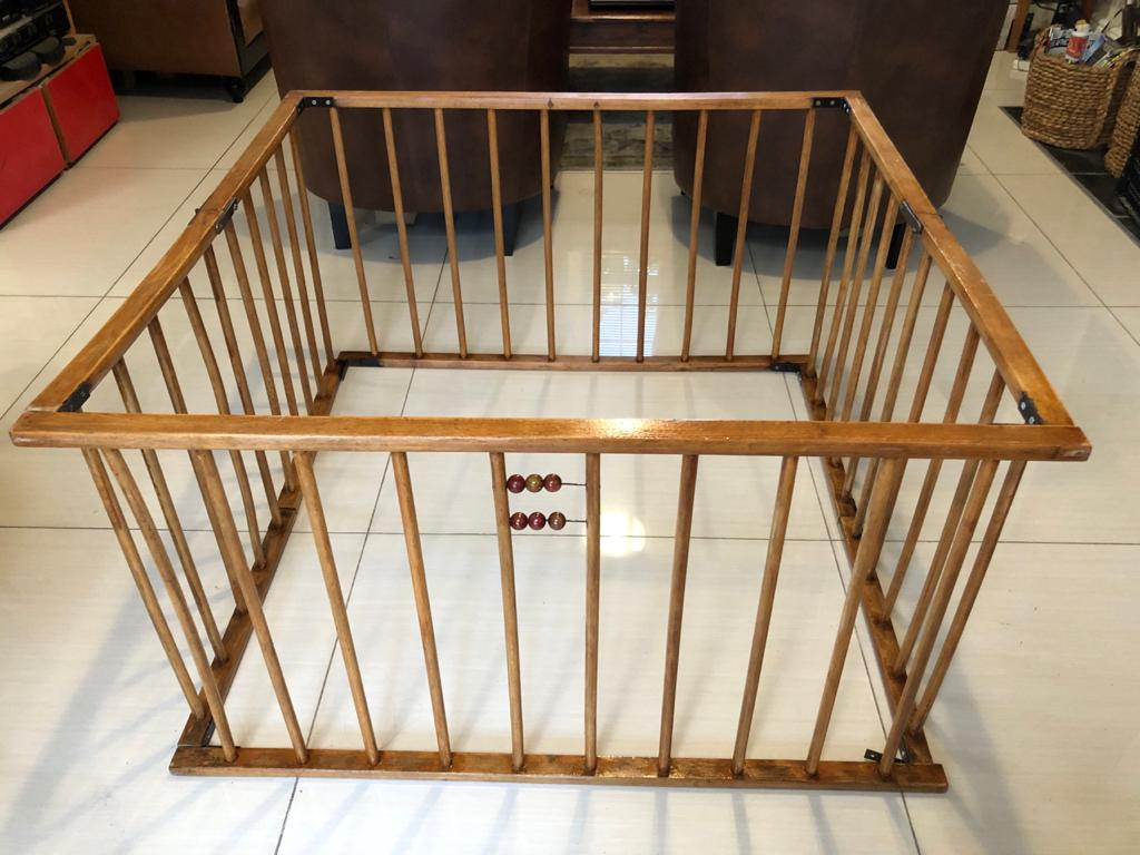 Restored Vintage Solid wood Playpen for baby or pet - folds flat wnen not in use