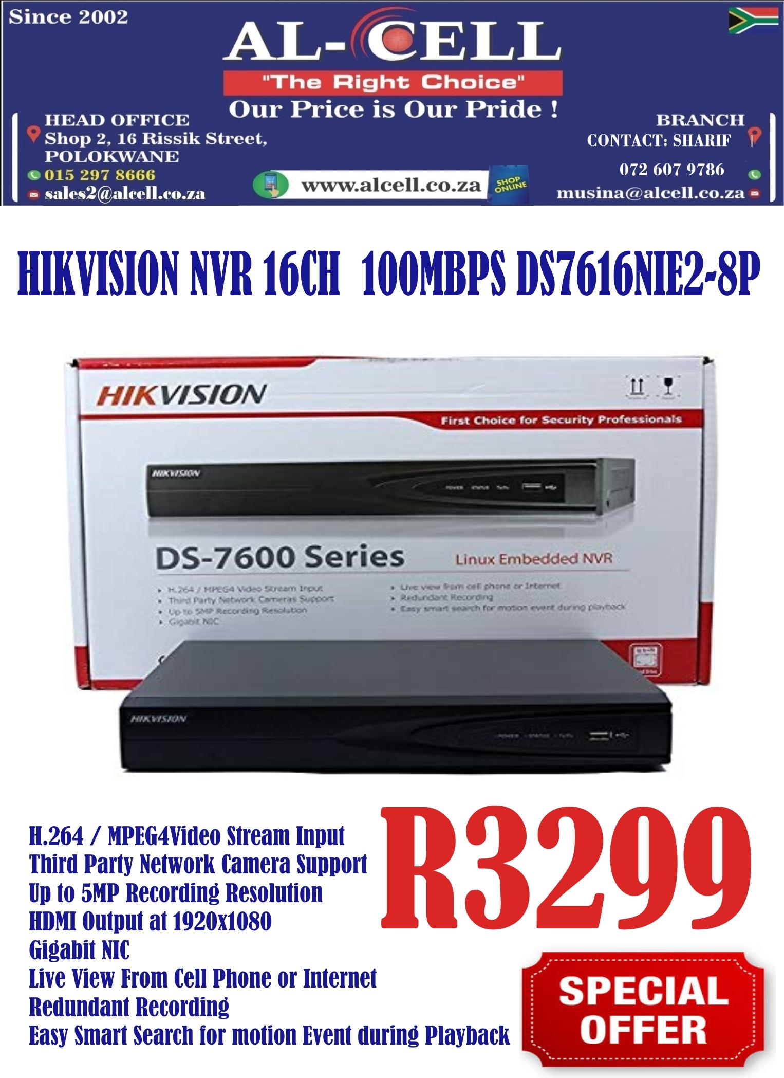 Hikvision 16 Channel NVR 100 MBPS DS7616NIE2-8P | Junk Mail