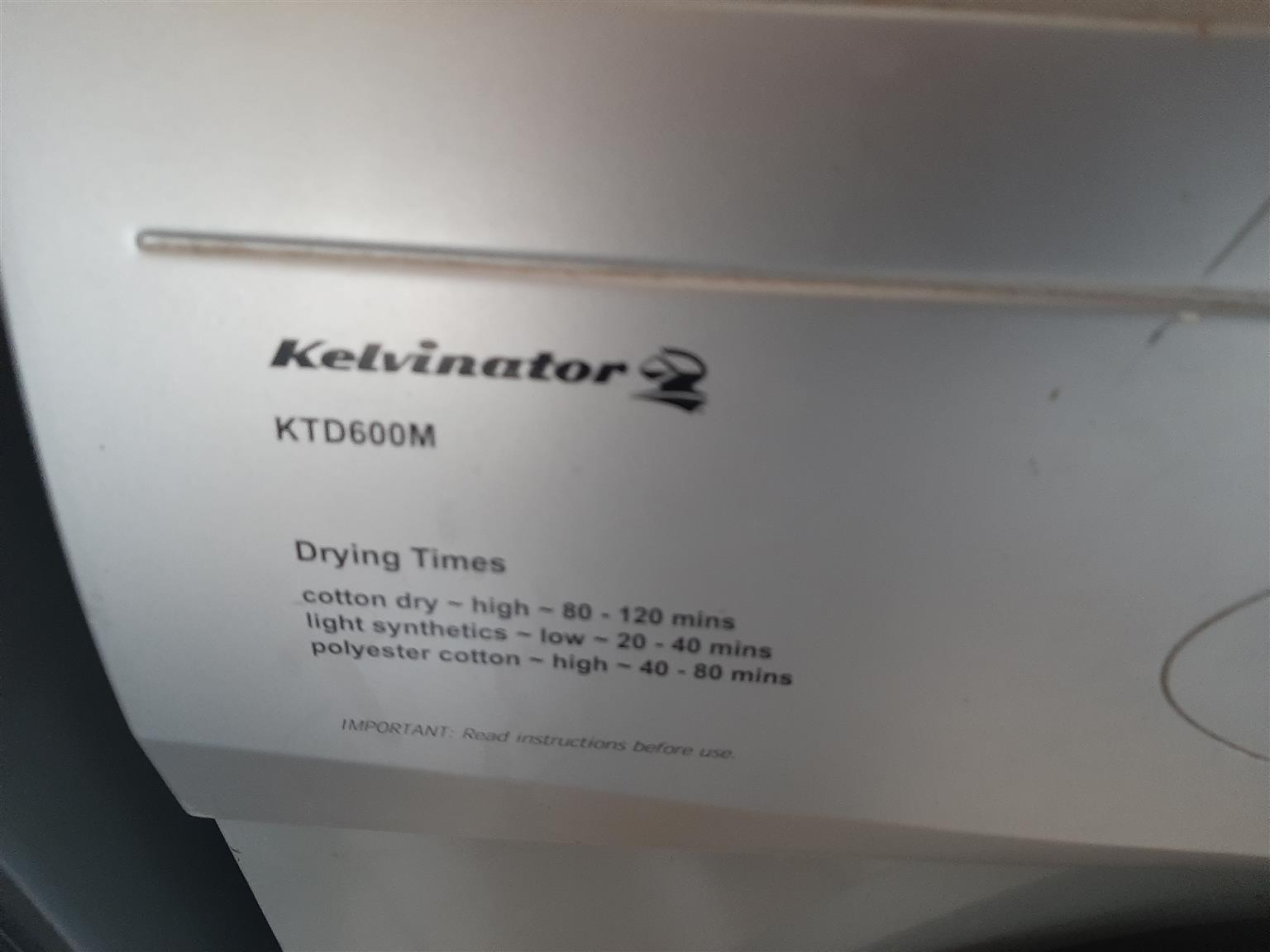 Silver kelvinator tumble dryer
