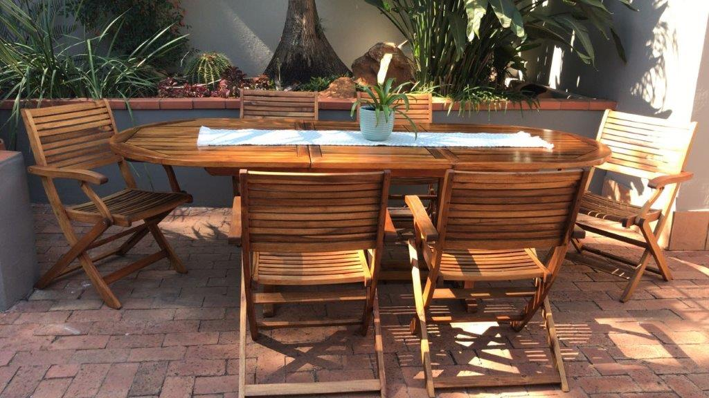 Patio Teak Set With 6 X Fold Up Chairs Extendable Teak Patio