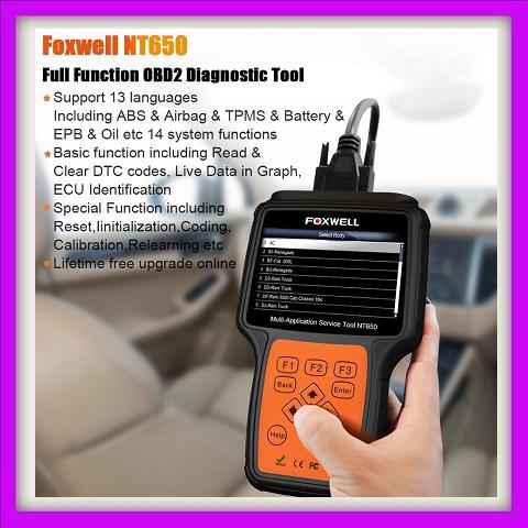 Foxwell NT650 OBD2 Car Diagnostic Tool ABS Airbag SAS EPB DPF TPMS Oil  Reset Injector Coding ODB2 Auto Scanner | Junk Mail