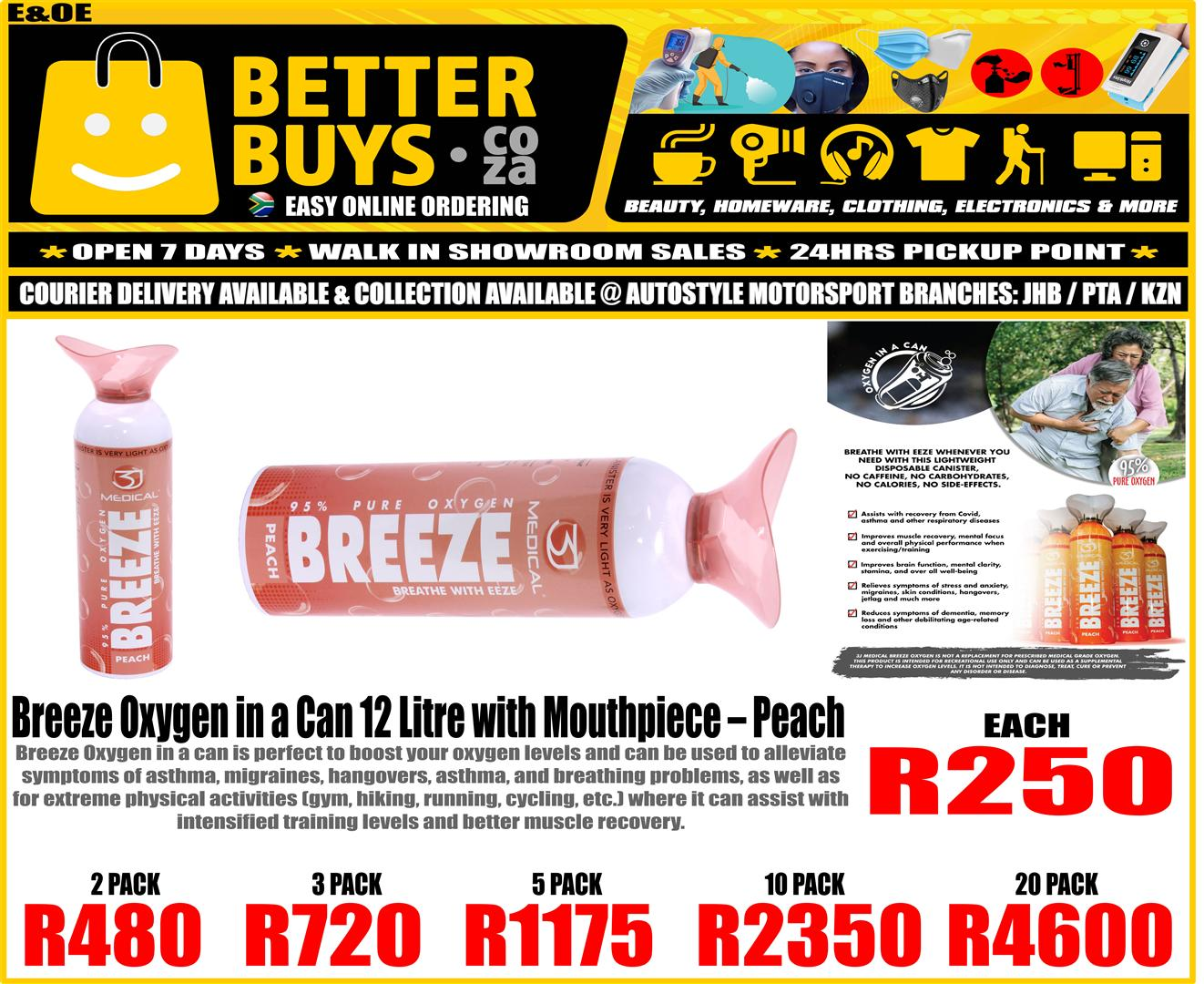 Breeze Oxygen in a Can 12 Litre with Mouthpiece – Peach