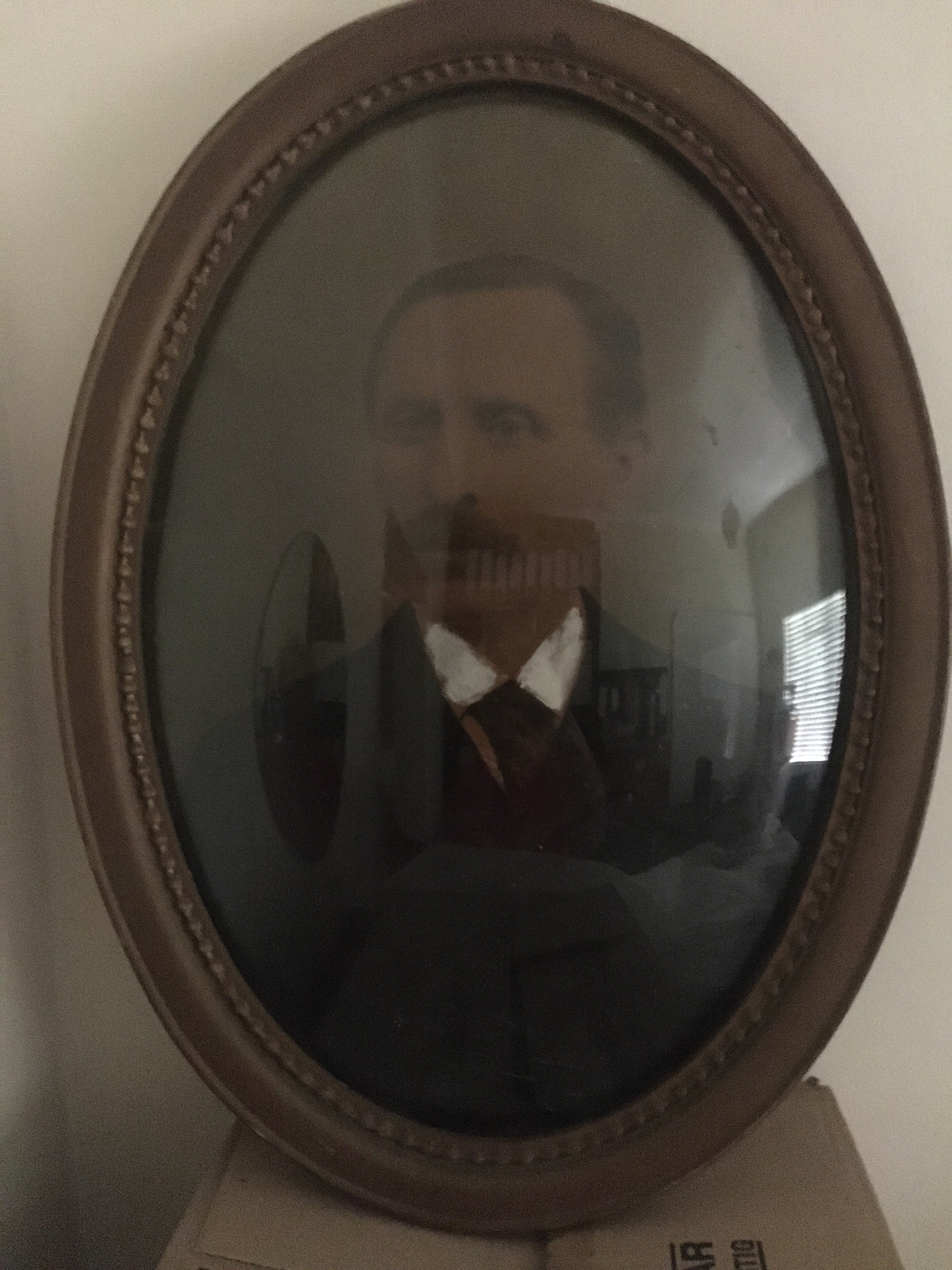 Antique Oval Bubble Glass Framed Picture (1910)