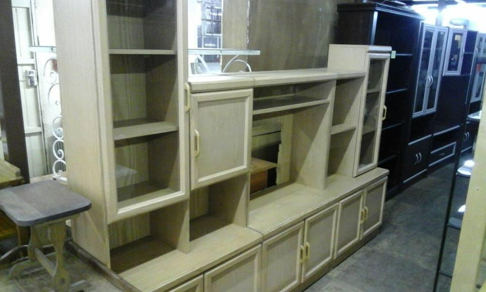 Big light wooden wall unit