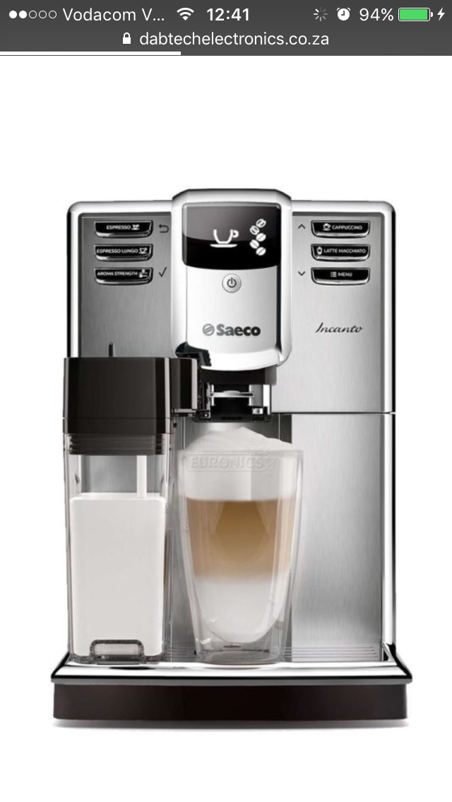 Saeco fully automatic bean to cup coffee machine -Incanto