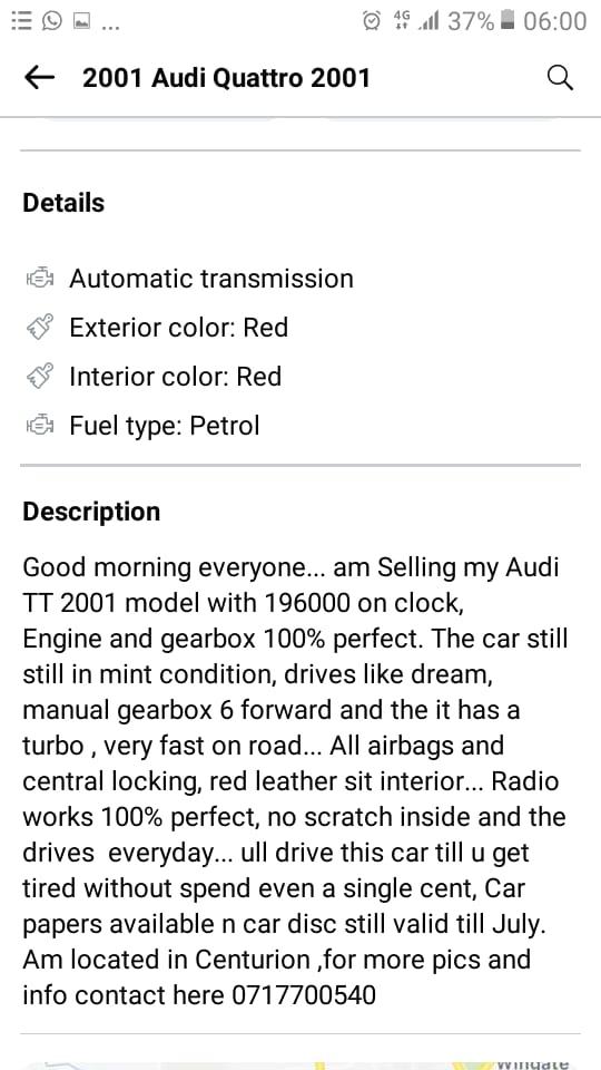 Audit TT QUATTRO 2001 Model