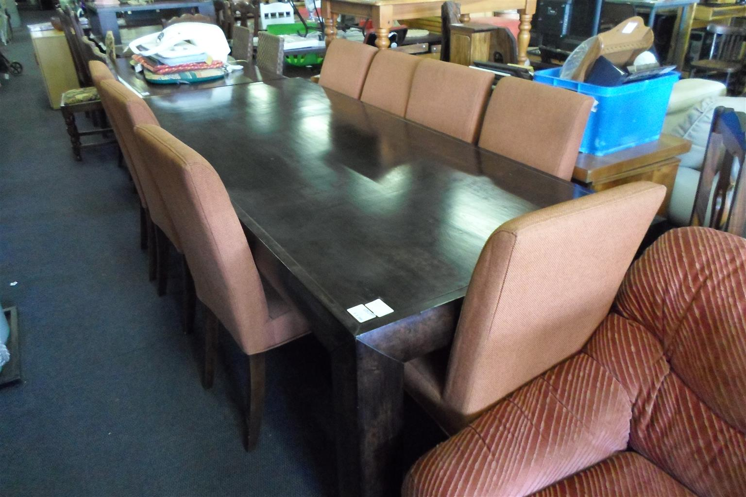Wooden Dining Room Suite + 8 Material Chairs