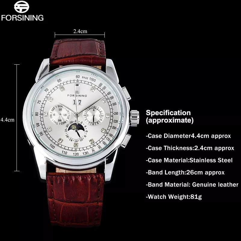 Forsining Men's Moon Phase Automatic Watch