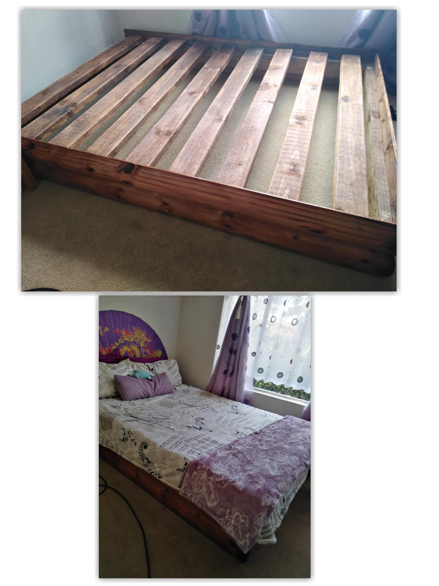 Solid Log Profile Double Bed Base with no head board