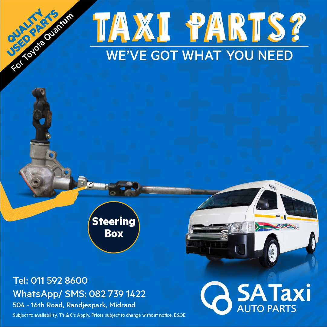 Steering Box suitable for Toyota Quantum - SA Taxi Auto Parts quality used spares