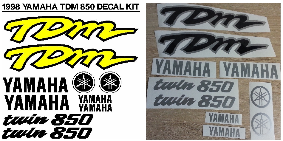 Decals stickers graphics kit for a 1998 Yamaha TDM twin 850 motorcycle
