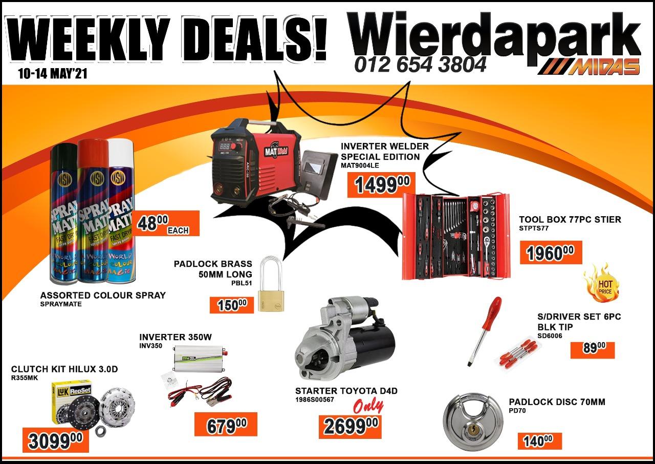 Weekly Deals now on at Wierdapark Midas!